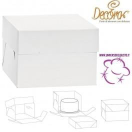 """BOX SCATOLA ALTA PORTA TORTA IN CARTONE """"DECORA"""""""