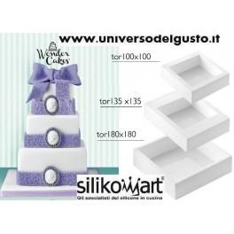SET 3 STAMPI MY WONDER CAKE SQUARE IN SILICONE di SILIKOMART
