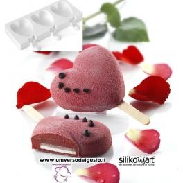 STAMPO 3 MINI GELATO / FINGER FOOD IN SILICONE CUORE MINI HEART IC+50 BASTONCINI di SILIKOMART