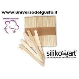 SILIKOMART SET 100 MINI BASTONCINI STECCO IN LEGNO FAGGIO STAMPO EASY CREAM E FINGER FOOD