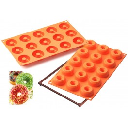 STAMPO IN SILICONE 15 SMALL DONUTS CIAMBELLE LINEA FANCY & FUNCTION di SILIKOMART SF171