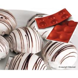 STAMPO IN SILICONE NR.  6 SEMISFERE ø70 MM H 35 MM SILIKOMART (delizie - semifreddi - dolci - cioccolata)