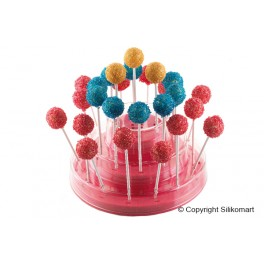ESPOSITORE PER CAKE POPS, EASY POPS, FINGER SU STECCO E EASY CREAM MINI SU STECCO FUCSIA IN GIFT BOX SILIKOMART
